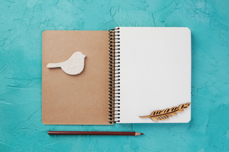 Top view of open blank notebook, wooden feather and bird, pencil on turquoise background. Travel and adventure concept, journey diary Stock Photo