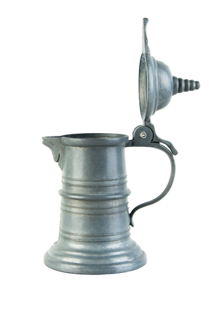 Vintage pewter gray jug with lid isolated on white  Stock Photo