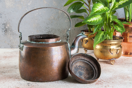 Old copper teapot and green plants cpose up on concrete background. Copy space for text. Stok Fotoğraf