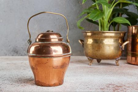 コンクリートの背景に真鍮と銅のヴィンテージ植木鉢でヴィンテージ銅缶と緑の植物。テキストのスペースをコピーします。