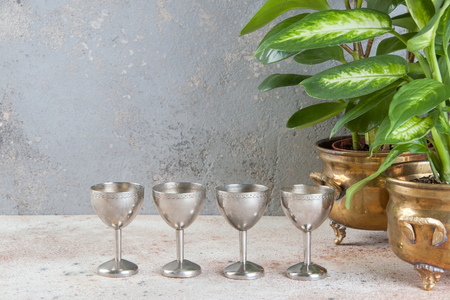 Vintage four silver goblet and green plants in brass flower pots on concrete background. Copy space for text.