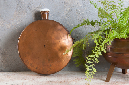 Antique copper flask and green plant on concrete background. Copy space for text.
