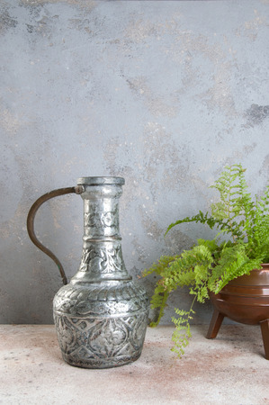 Vintage metal jug with handle and green plant in copper vintage flower pot on a concrete background. Copy space for text.