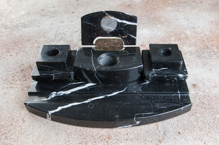 Large antique black marble inkwell desk pen set office , office and home decor