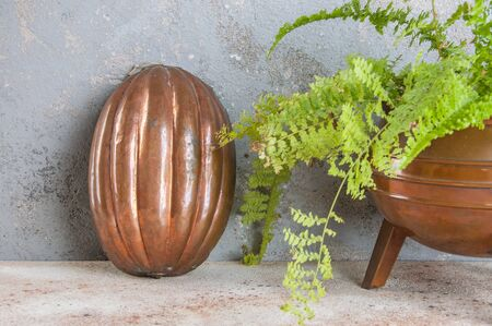 Old copper cake mold and green plant on a concrete background. Copy space for text.
