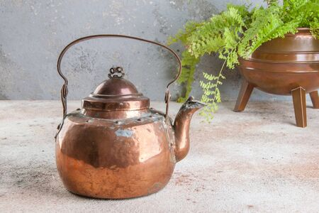 Antique copper kettle and green plant in copper flower pot on concrete background. Copy space for text. 写真素材