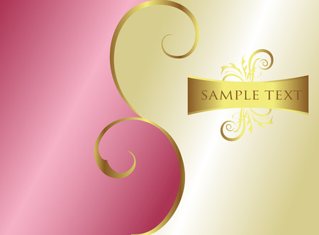 Pink floral texture with golden elements