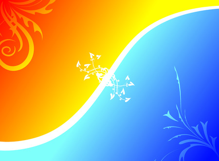 Orange and blue gradient backround with floral elements