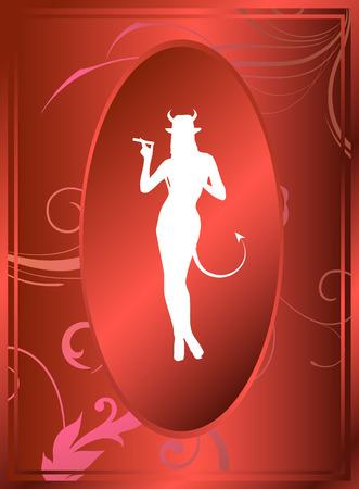 diavoli: Sexy femminile che rappresenta il diavolo stesso Vettoriali