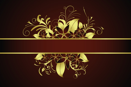 Golden illustration with floral elements Vector
