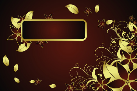Golden illustration with floral elements Vector