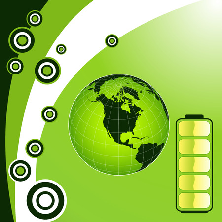 Vector green energy recycling planet earth illustration Stock Vector - 4273470