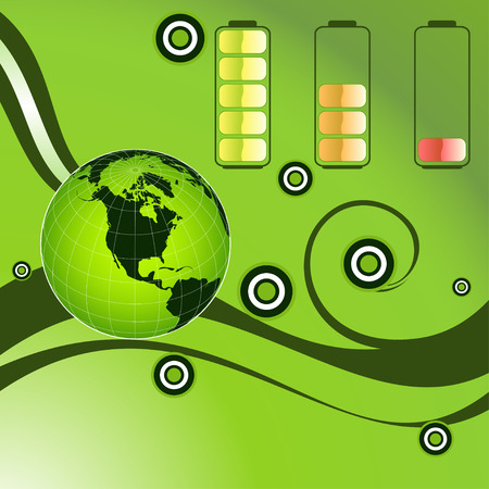 Vector green energy recycling planet earth illustration Vector