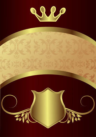 Classic golden royal backround with floral elements Vector