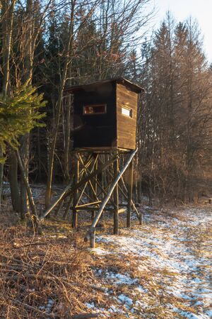 Hunting tower in wild forest. Wooden Hunter Hide High watch post tower. Hunter's observation point in forest in Europe. Czech Republic. Stockfoto