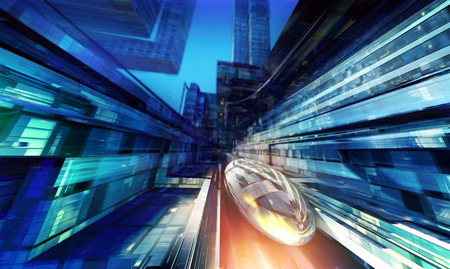 Futuristic train in between stylized buildings. Stock Photo