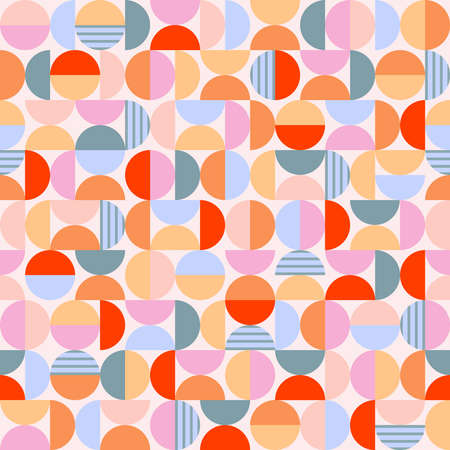 Geometry minimalistic artwork poster with circles and semicircles. Vintage style vector pattern design in scandinavian style for fabric print, web banner, business presentation and branding packages. Vetores