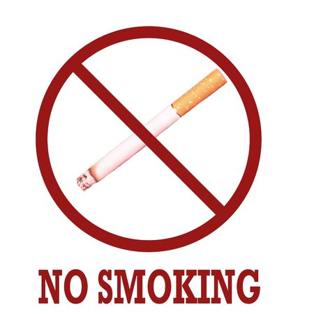 No smoking. Sigaret crossed by red line. White background. Stock Photo