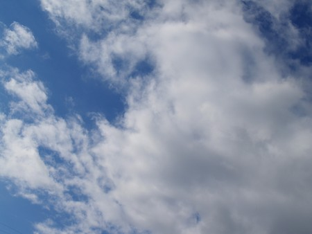 endlessness: Blue sky with clouds. Sunny day.