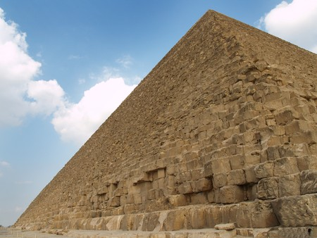 Pyramid. Giza. Egypt. Sky and clouds background.