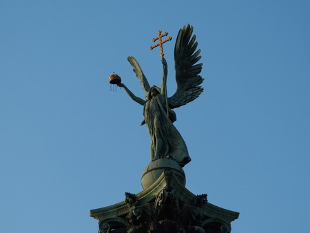 Monument with a cross. Budapest. Hungary. Stock Photo