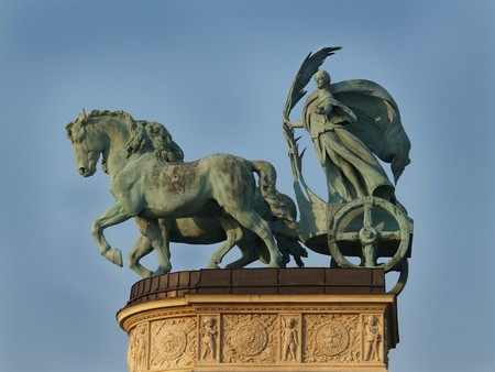 Woman in chariot. Budapest. Hungary. Europe. Stock Photo