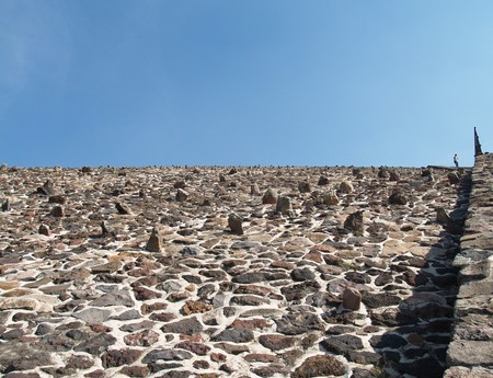 The wall. Pyramid of sun. Teotihuacan. Mexico.