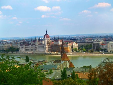 Parliament in Budapest. View from across Danube river. Stock Photo