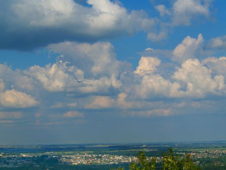 Horizon and sky with clouds. View from high castle. Lvov. Ukraine