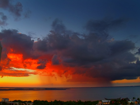 Storm on the gulf. Cankun. Mexico. Stock Photo