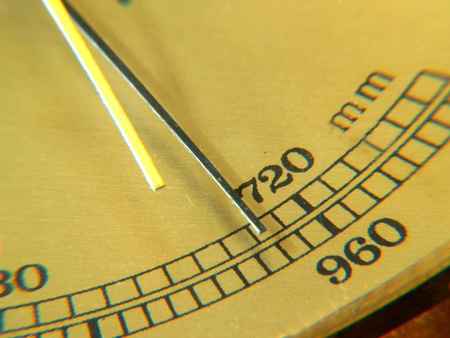 Barometer. Pointer on 720 mm. Yellow panel background.  photo