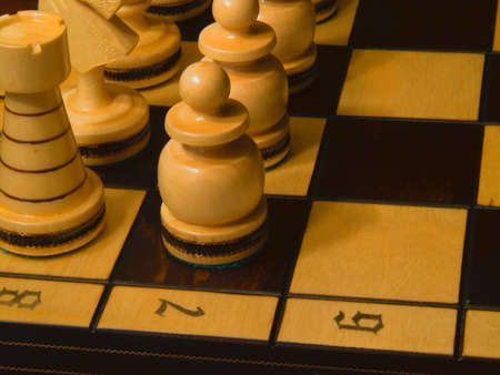 White piece on the chess-board. Pawns before knight.