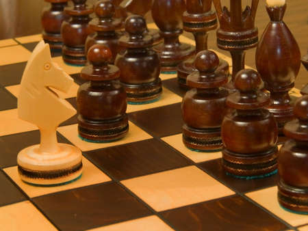 Black piece on the chess-board. The knight before pawn.