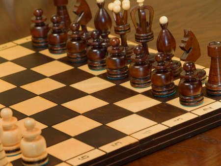 Black piece on the chess-board. Pawns before knight.