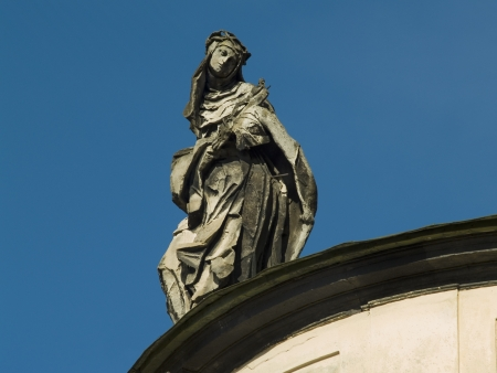Sculpture of woman on Dominican Church. Lviv. Ukraine.
