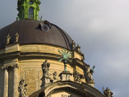 Facade of Dominican Church. Center of the town Lviv. Ukraine.