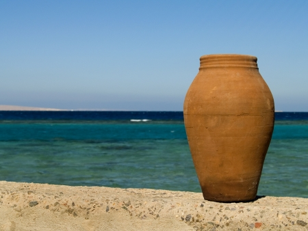 The pot on the beach of Red Sea  Egypt  Hurgada  Hotel Coral beach Rotana resort