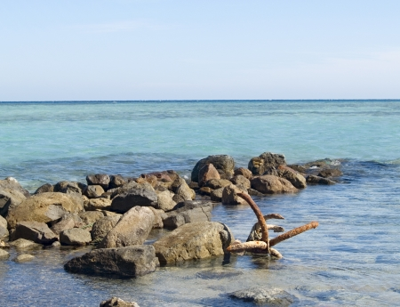 Old rusty anchor on the beach of Red Sea  Egypt