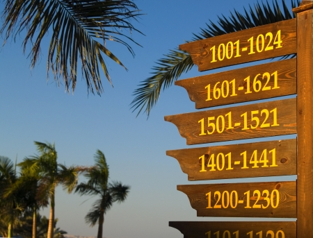 Information board about placement of rooms in hotel territory   Stock Photo