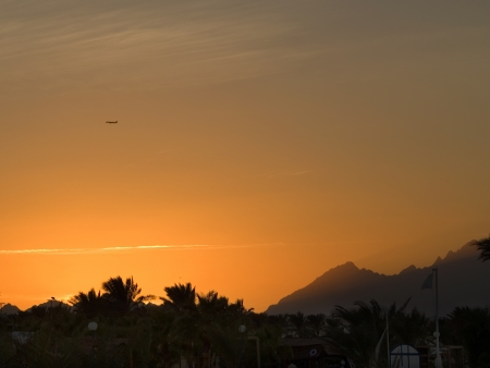 Sunset on Red sea  Sky, mountains and plaine Stock Photo