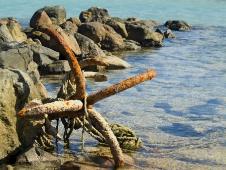 Old rusty anchor on the Red sea.