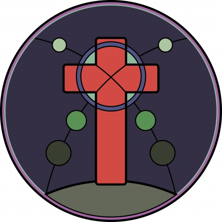 colored window: stained glass pattern on religious themes