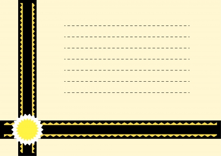 Beige card with black and gold ribbons