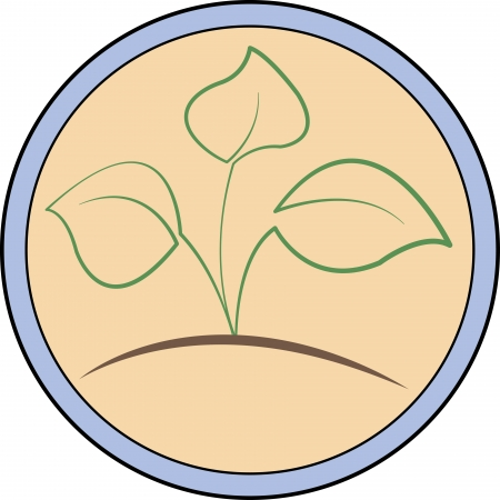 circular logo with a green sprout