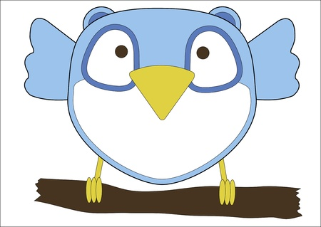 Cute little blue owl for your children Stock Vector - 18003911