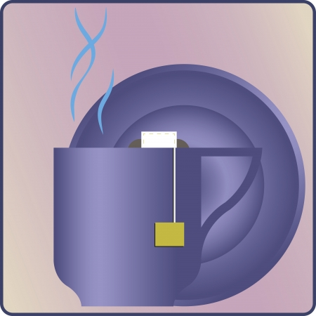 tea bag in the cup against saucer Stock Vector - 18369876