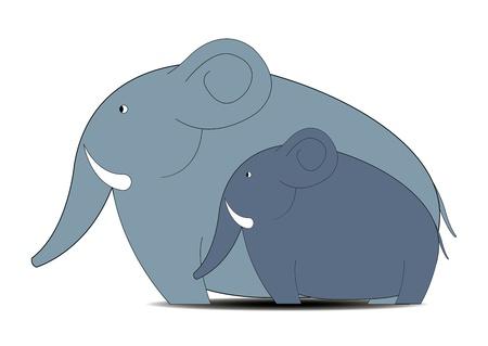 scenarios: Childrens illustration  family of elephants Illustration