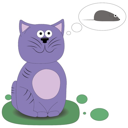Childrens illustration of the cat dreaming of a mouse