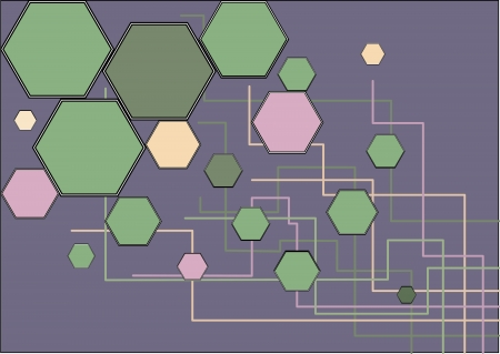 purple background of hexagons and lines Illustration