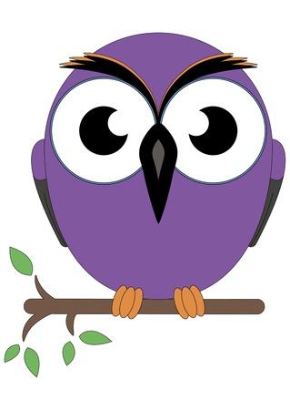 Children owl sitting on a branch